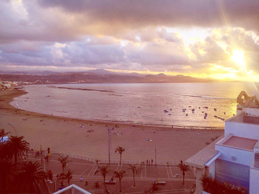 Sunset view from the Aloe Hotel Bar in Las Palmas de Gran Canaria